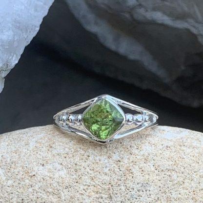 Sterling Beaded Peridot Ring