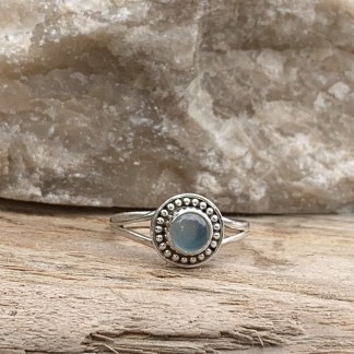 Round Blue Chalcedony Ring