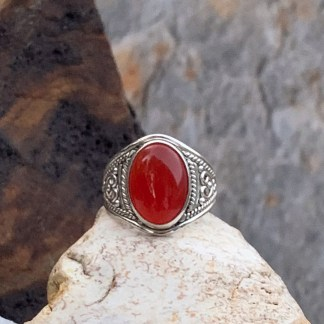 Sterling & Carnelian Cabochon Ring