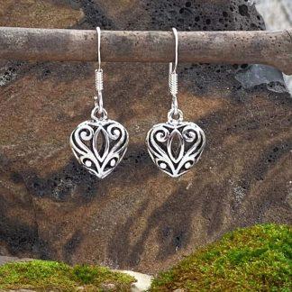 Filigree Sterling Heart Earrings