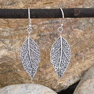 Antiqued Sterling Leaf Earrings