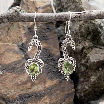 Leafy Peridot & Sterling Earrings