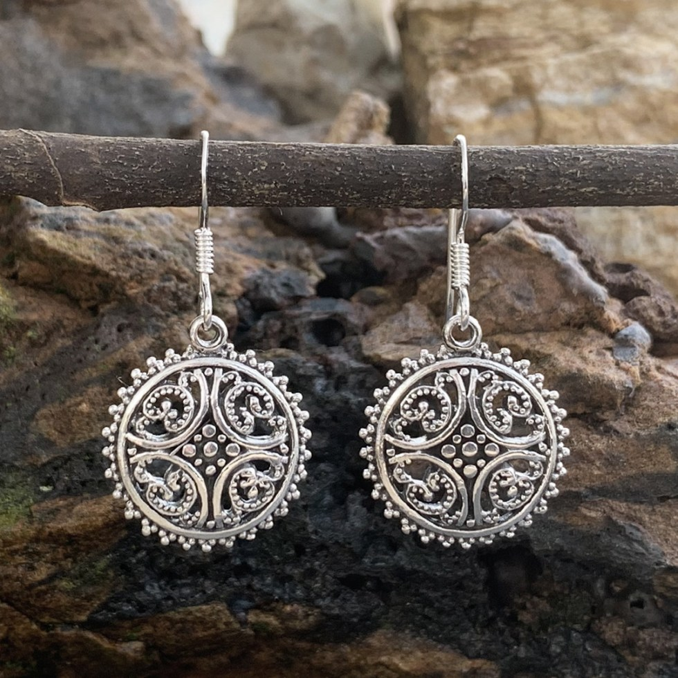 Sterling Silver Sunburst Earrings