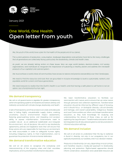 Open Letter from Youth – One World, One Health