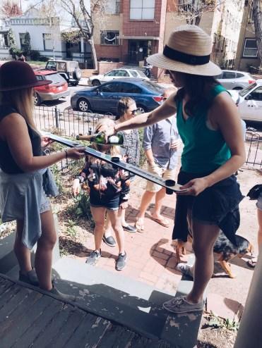 Champagne shot ski prep