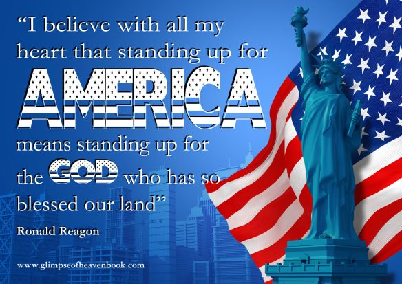 Blue American Background Illustration. Statue of Liberty, Flag and City Skyline Illustration with Copy Space. American Events and Celebration Backdrop.