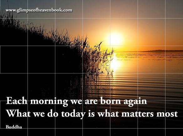 Each morning we are born again What we do today is what matters most Buddha
