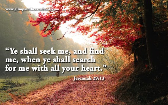 """Ye shall seek me, and find me, when ye shall search for me with all your heart."" Jeremiah 29:13"