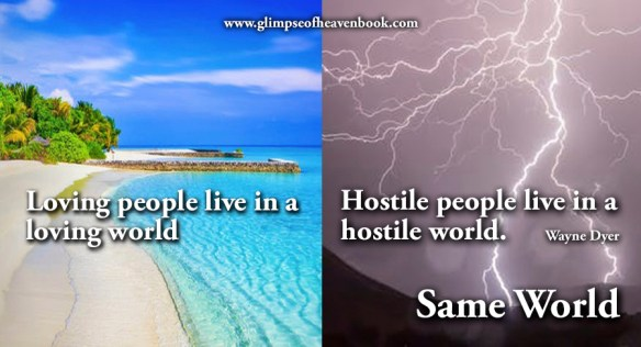 Loving people live in a loving world. Hostile people live in a hostile world. Same world. Wayne Dyer