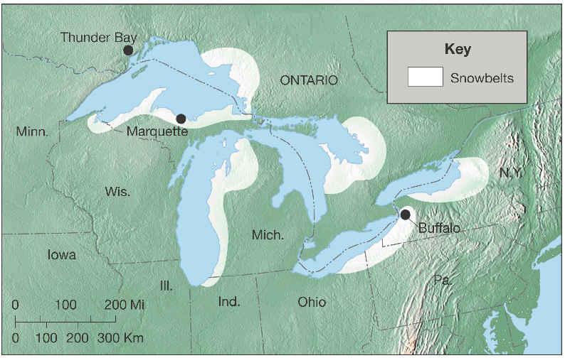 Lake Effect Snowbelt Map
