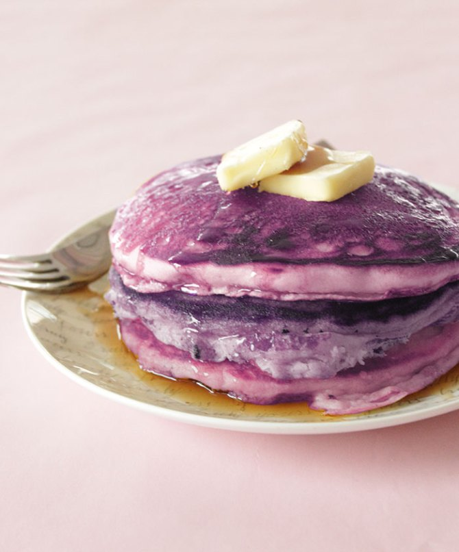 purple-pancakes with butter