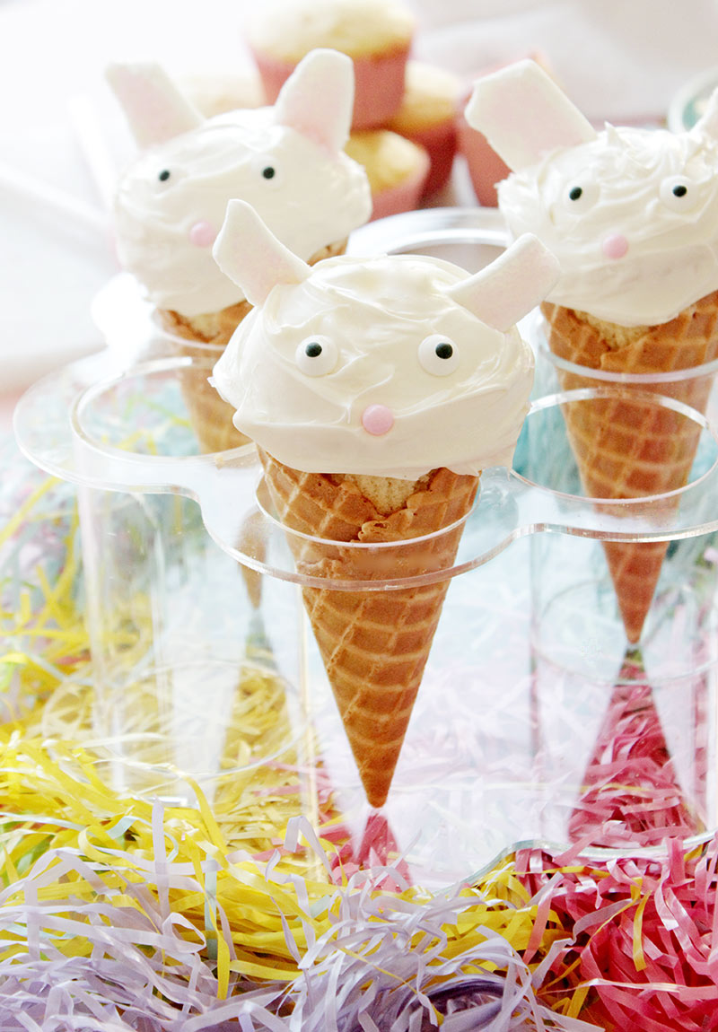 An Easter recipe for Easter Bunny Cupcake Cones by Glitter and Bubbles.