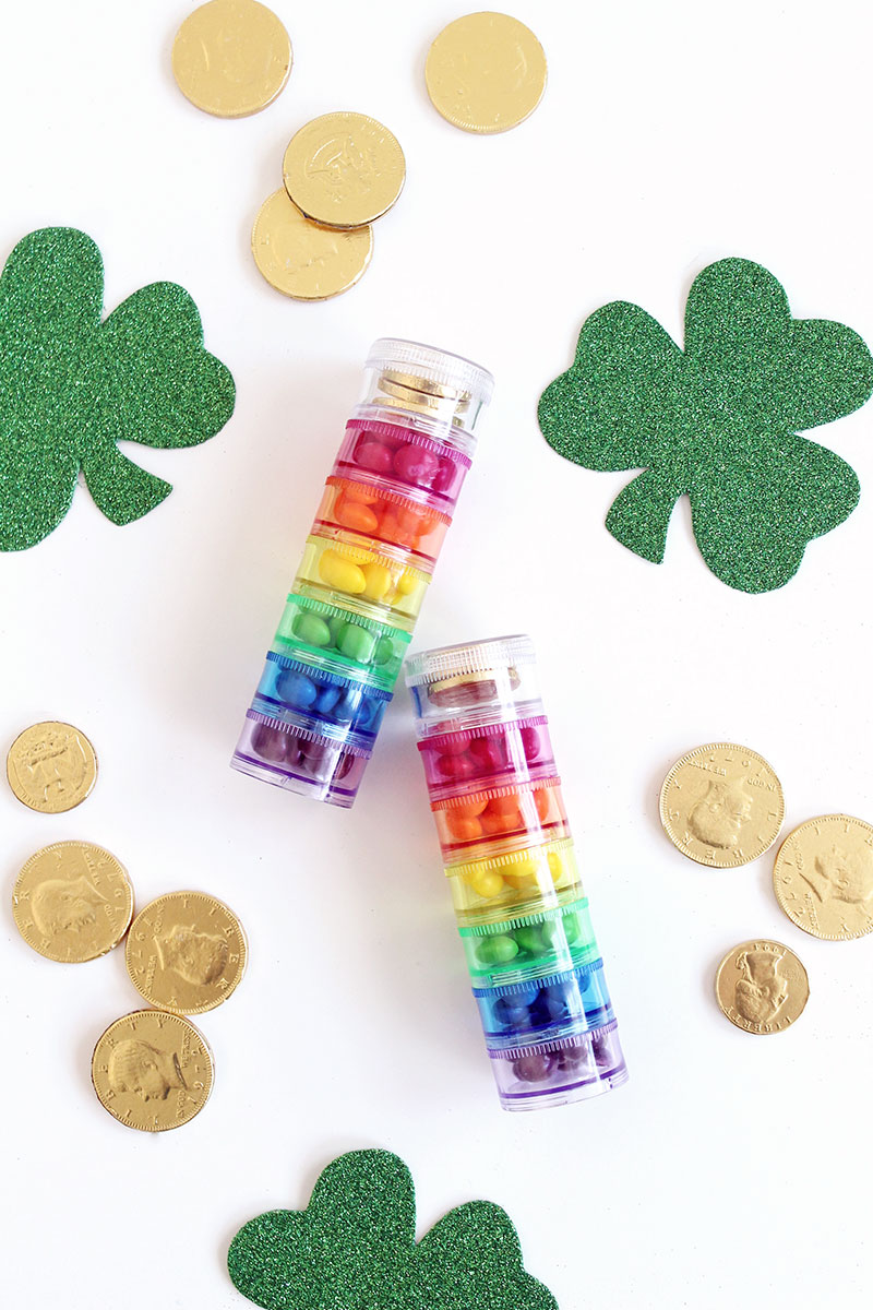 How to make Rainbow Candy Stacks with Glitter and Bubbles.