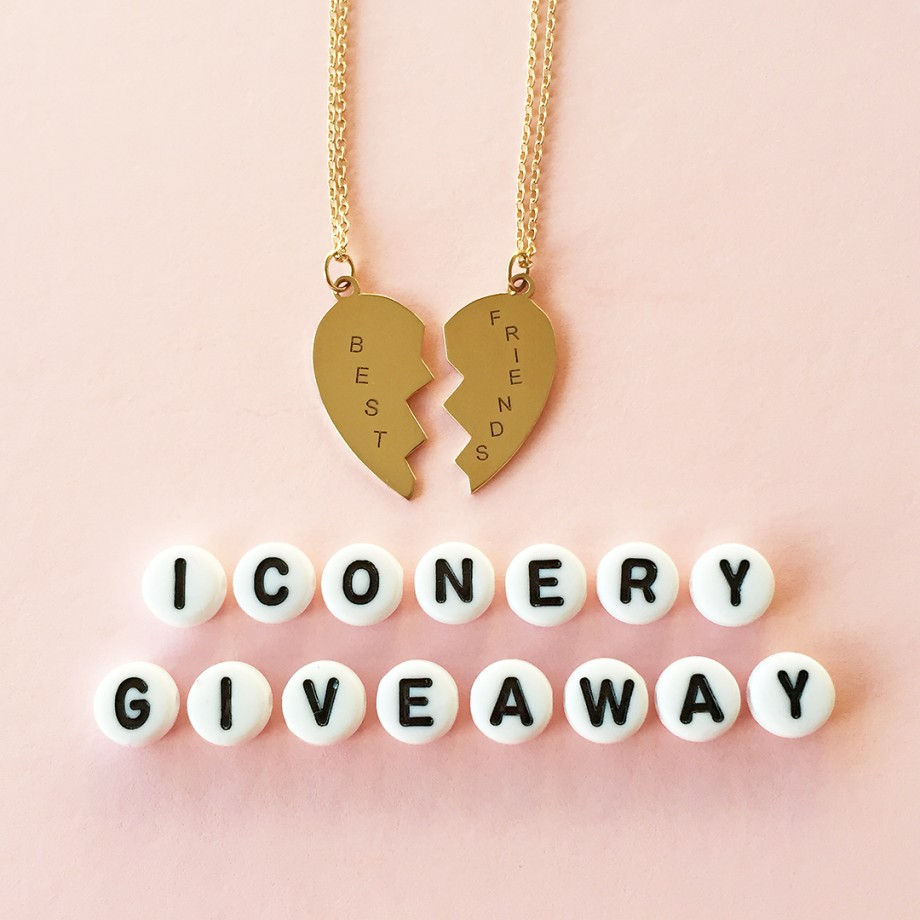 This is a giveaway by Glitter and Bubbles for an Iconery best friends necklace.