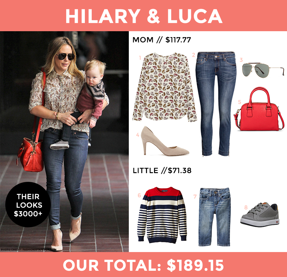 This fashion post by Glitter and Bubbles breaks down Hilary Duff's look for less.