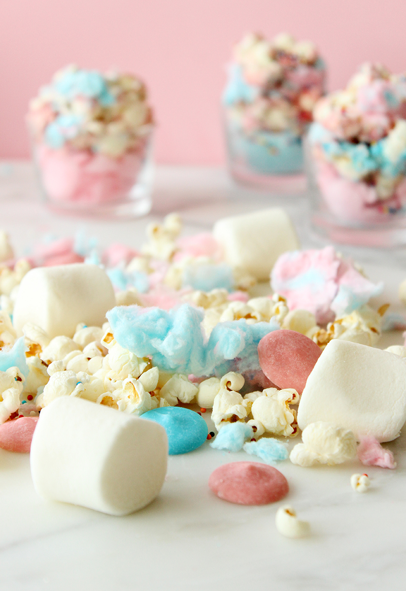 This is a recipe for Cotton Candy Sprinkle Popcorn by Glitter and Bubbles.