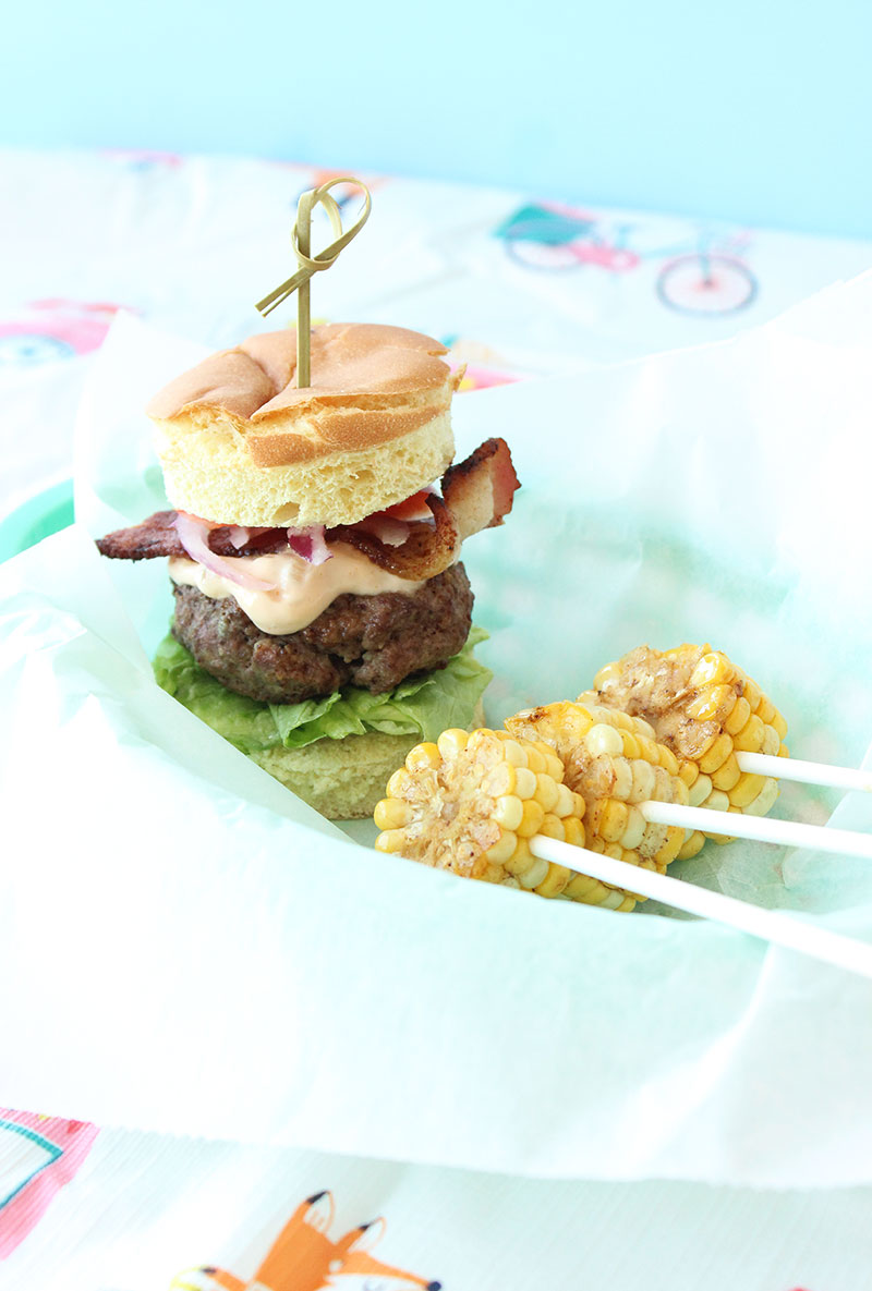 This is a recipe for Stuffed Cobb Salad Burger Sliders by Erica Eckman of Everything Erica for Glitter and Bubbles.