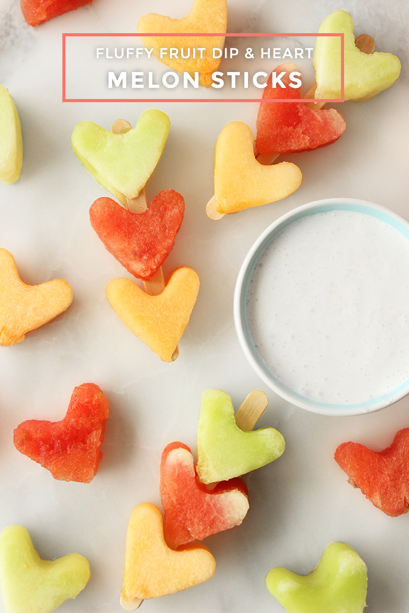 Fluffy Fruit Dip And Heart Melon Sticks