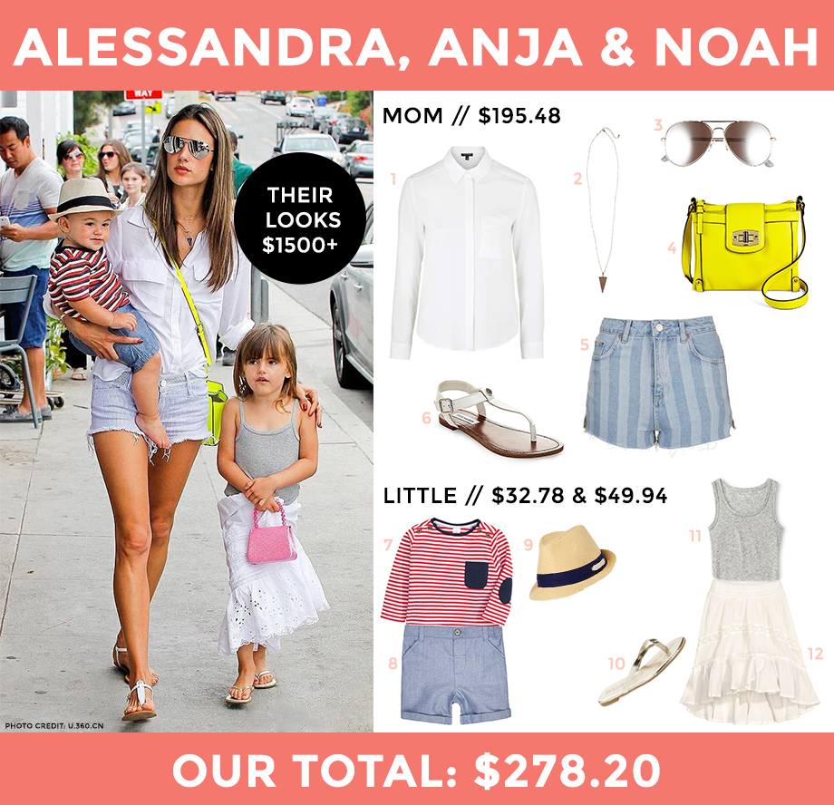This is a celebrity look for less post by Glitter and Bubbles featuring Alessandra Ambrosio.