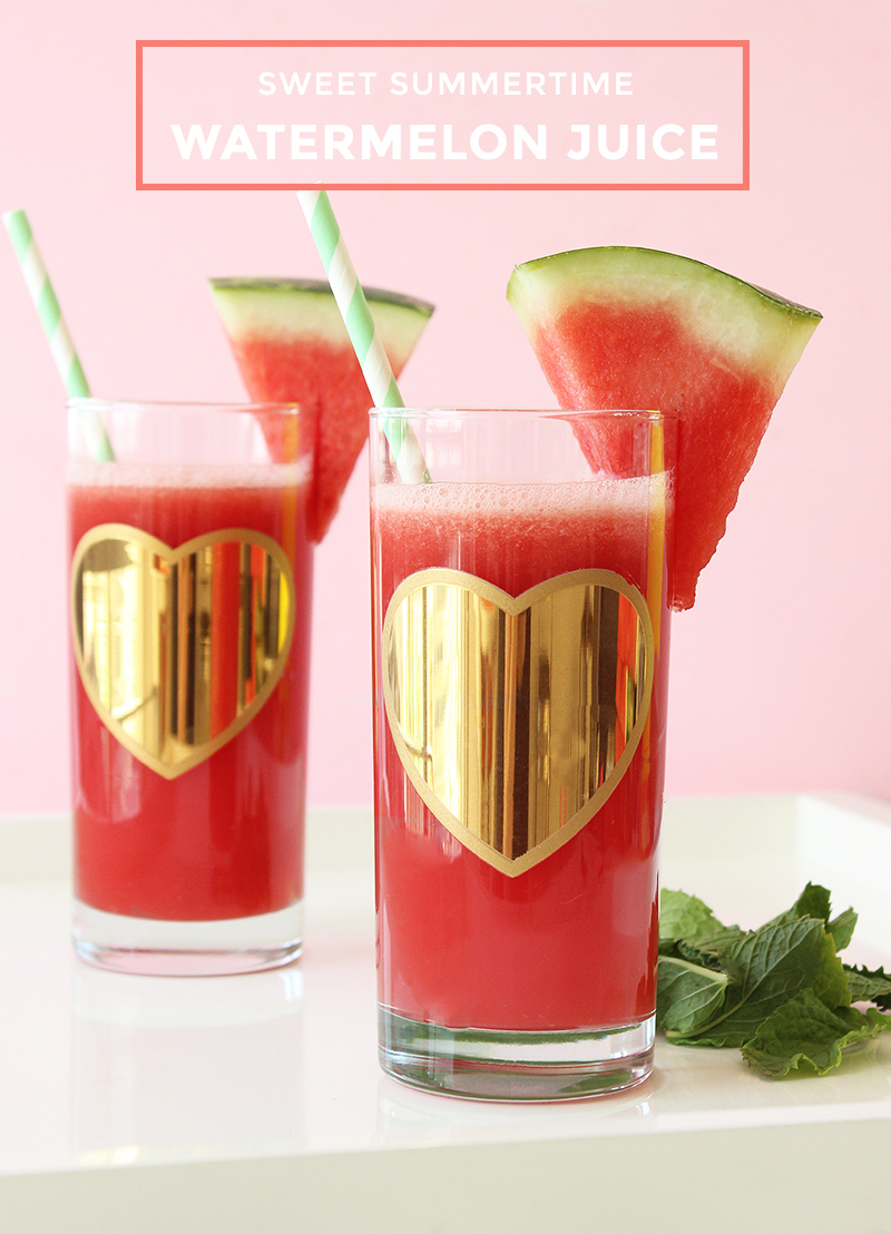 This is a recipe for watermelon juice by Glitter and Bubbles.