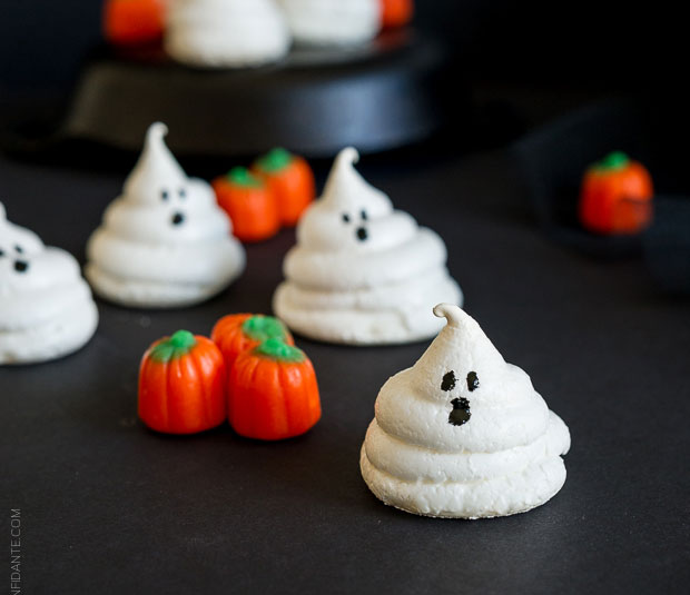 A recipe for Friendly Ghost Meringues by Kitchen Confidante.