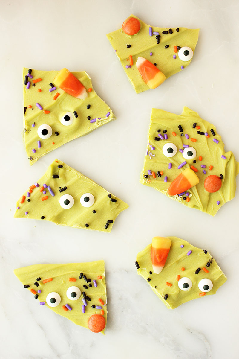 This is a Halloween recipe by Glitter and Bubbles for melted chocolate witch bark.
