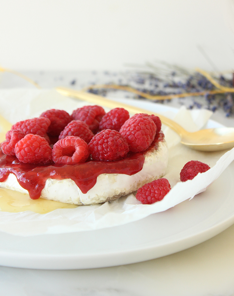 This is a recipe for Fancy Raspberry Baked Brie by Glitter and Bubbles.