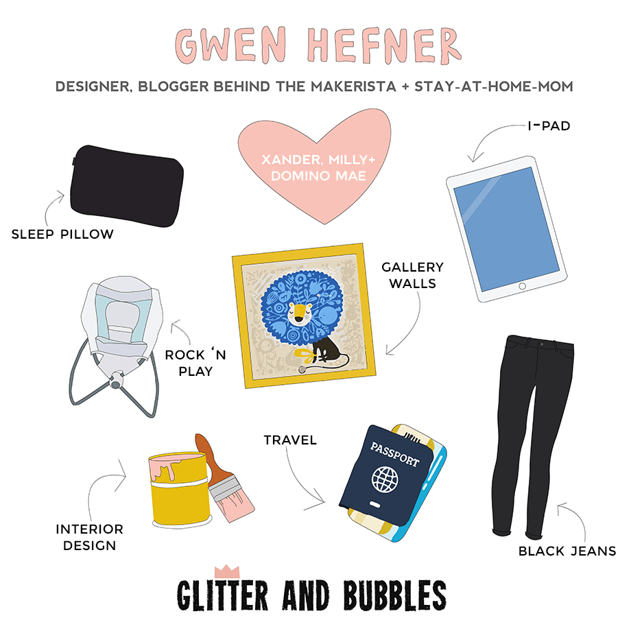 This illustration details all of Rad Mom & The Makerista, Gwen Hefner's favorite things.