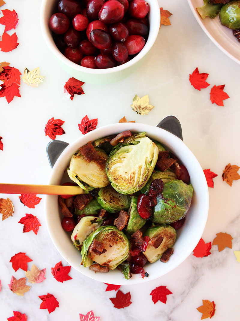 A children's bowl shaped like a cat filled with brussels sprouts, bacon and cranberries.