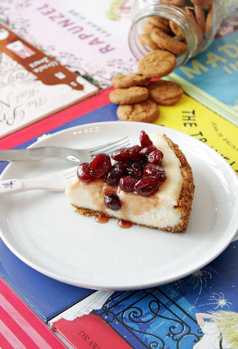 A dessert recipe for cranberry cheesecake.