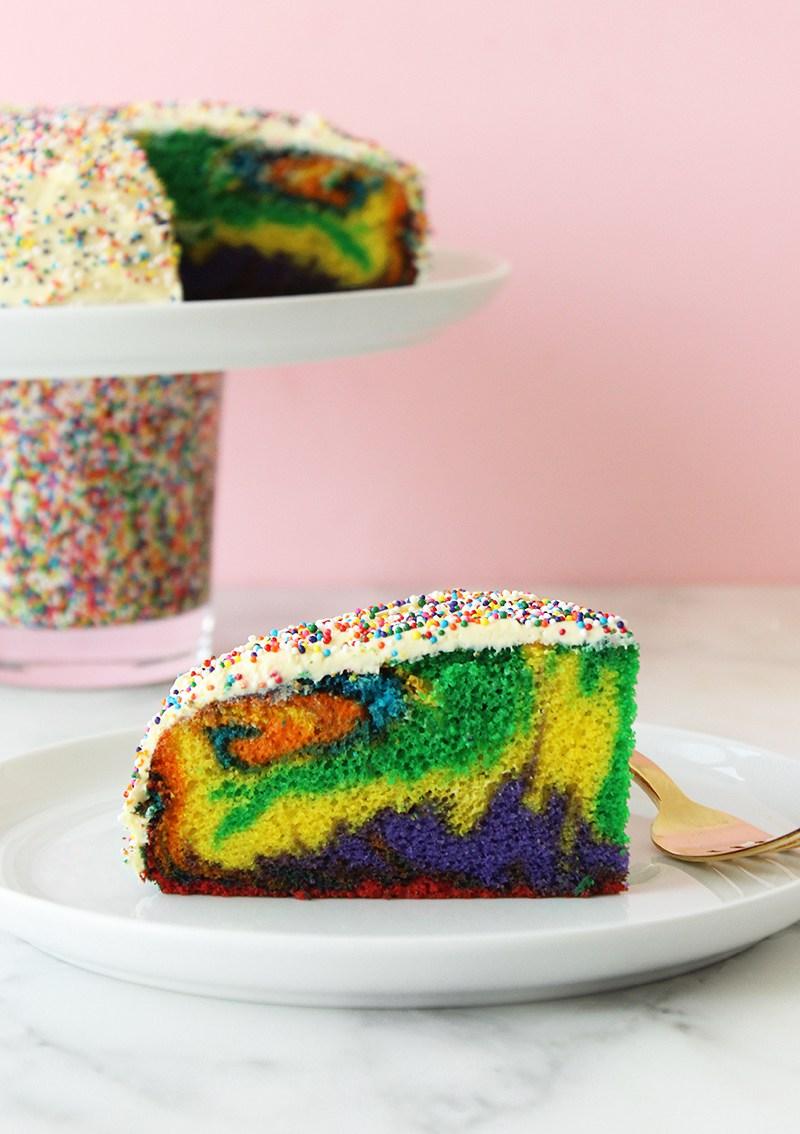 A dessert recipe for Rainbow Swirl Cake.