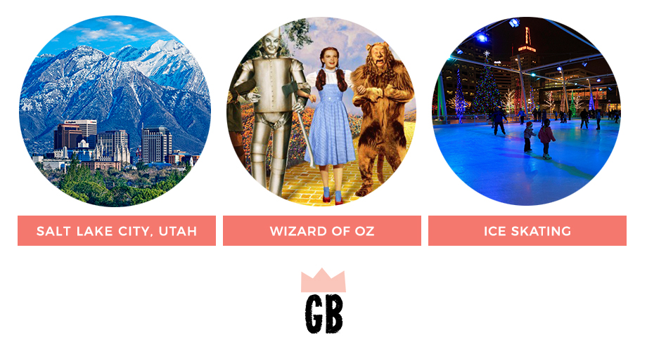 December Kid's Activities in Salt Lake City, Utah featuring ice skating and the Wizard of Oz.