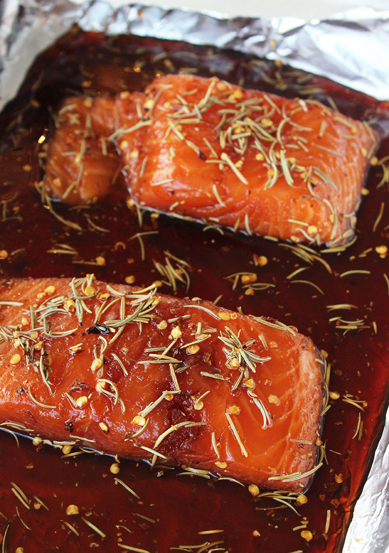 Marinating salmon in a soy, honey and red pepper flake sauce.