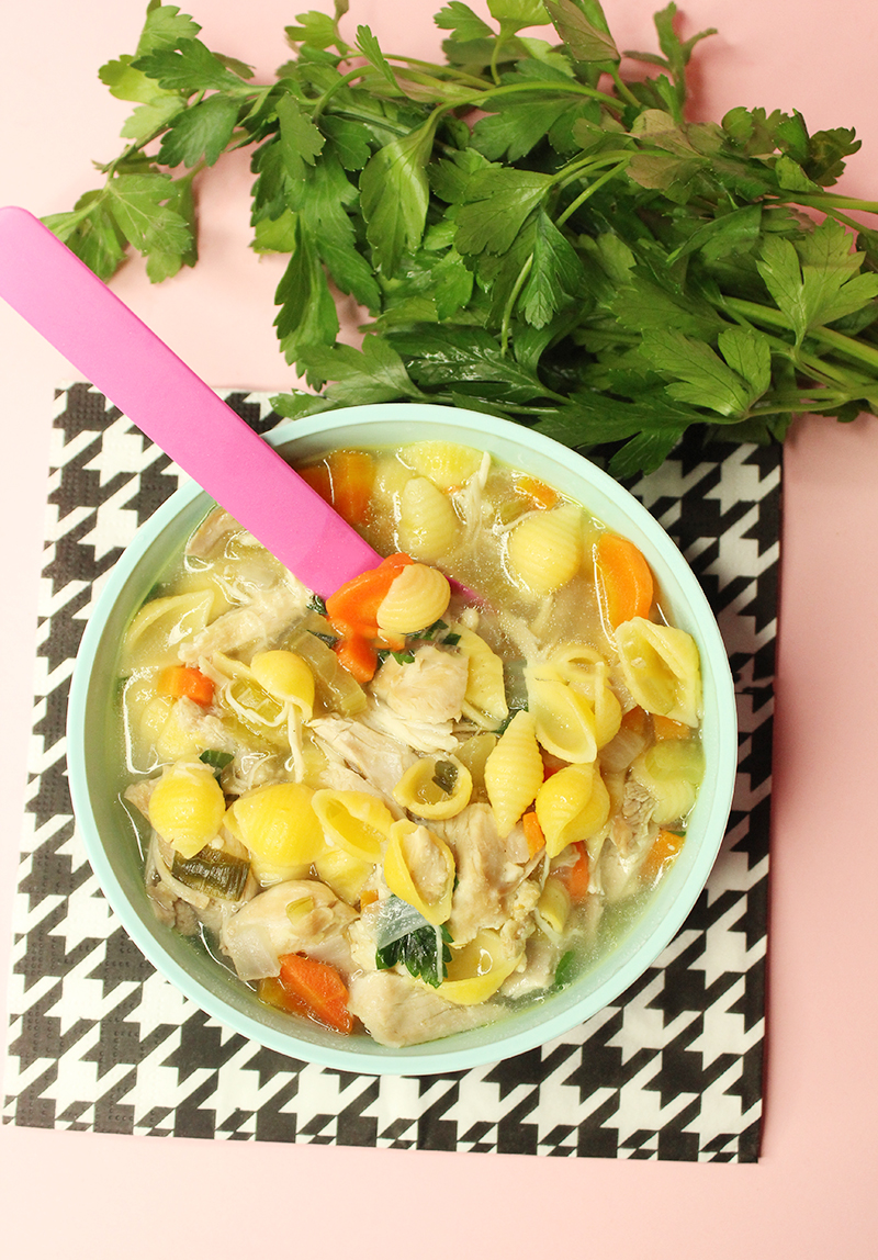 A delicious bowl of gluten-free chicken noodle soup.