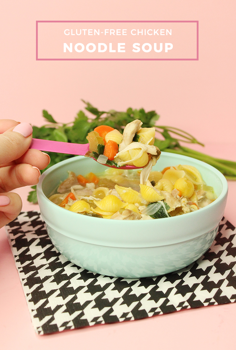 A delicious and easy recipe for gluten-free chicken noodle soup.