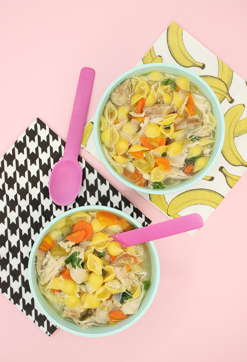 Gluten-free chicken noodle soup with vegetables.