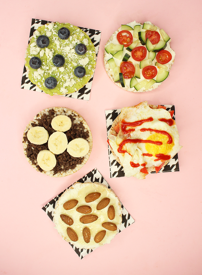 5 ideas for healthy rice cake toppings.