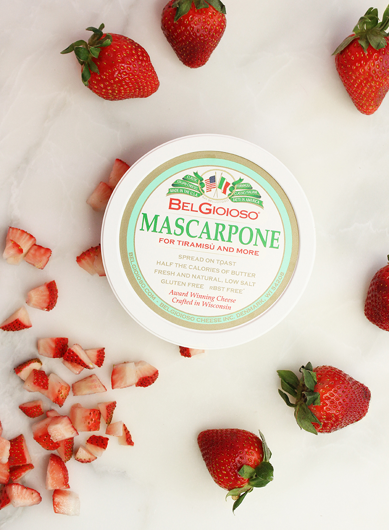 Gluten-free mascarpone cheese and fresh strawberries.