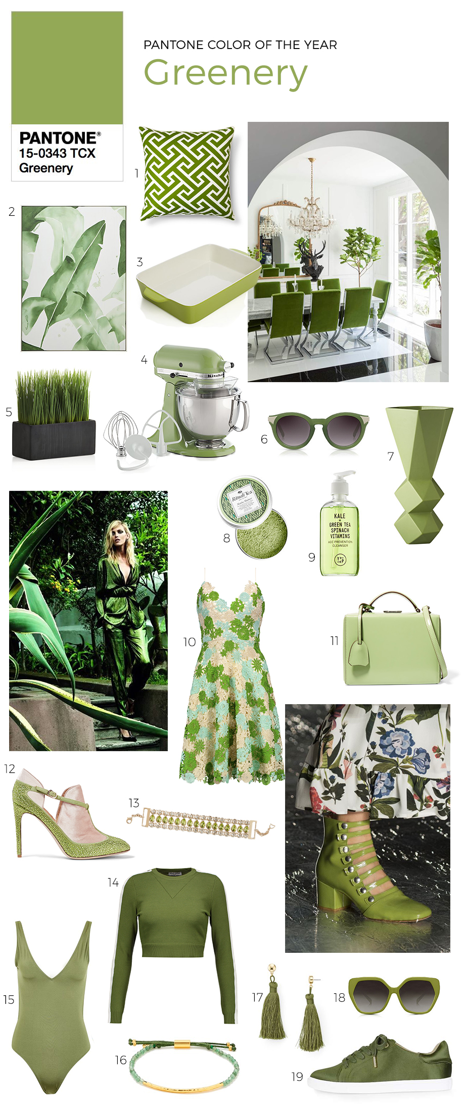 Home and fashion items in Pantone's color of 2017, greenery.