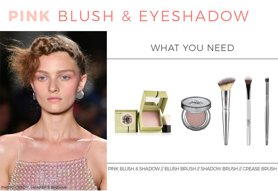 How to apply pink blush and eyeshadow.