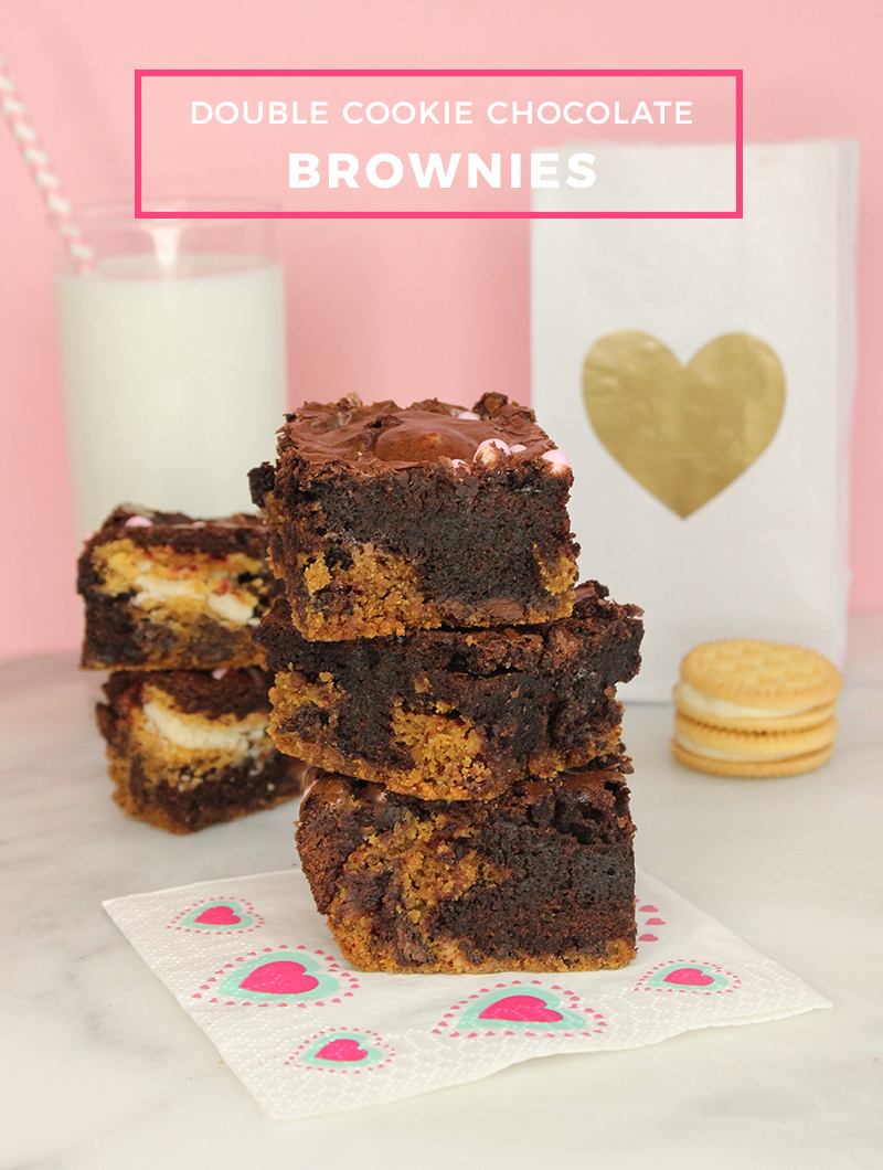 An easy Valentine's Day recipe for double cookie chocolate brownies.