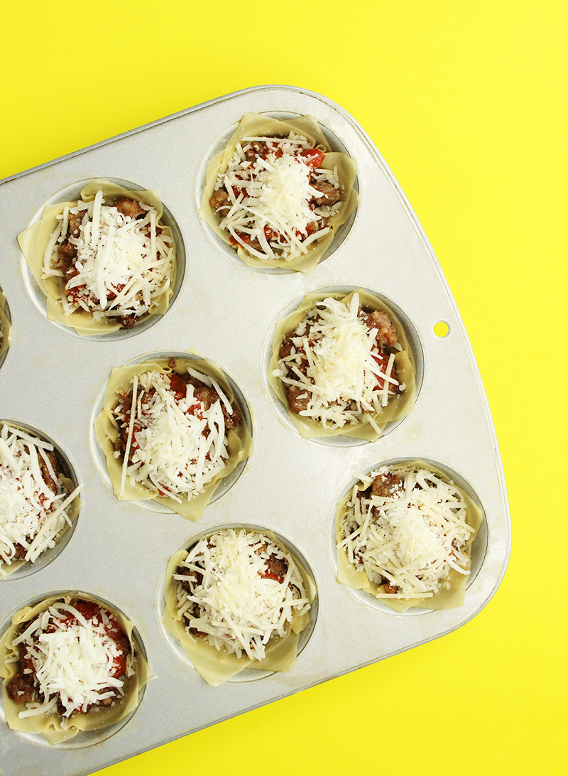 How to make sausage lasagna cups.