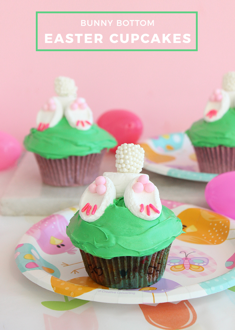 Bunny Bottom Easter Cupcakes.