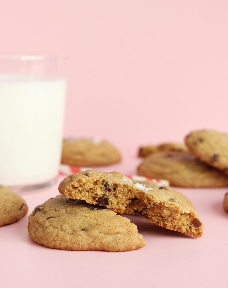 Warm chocolate chip cookies.