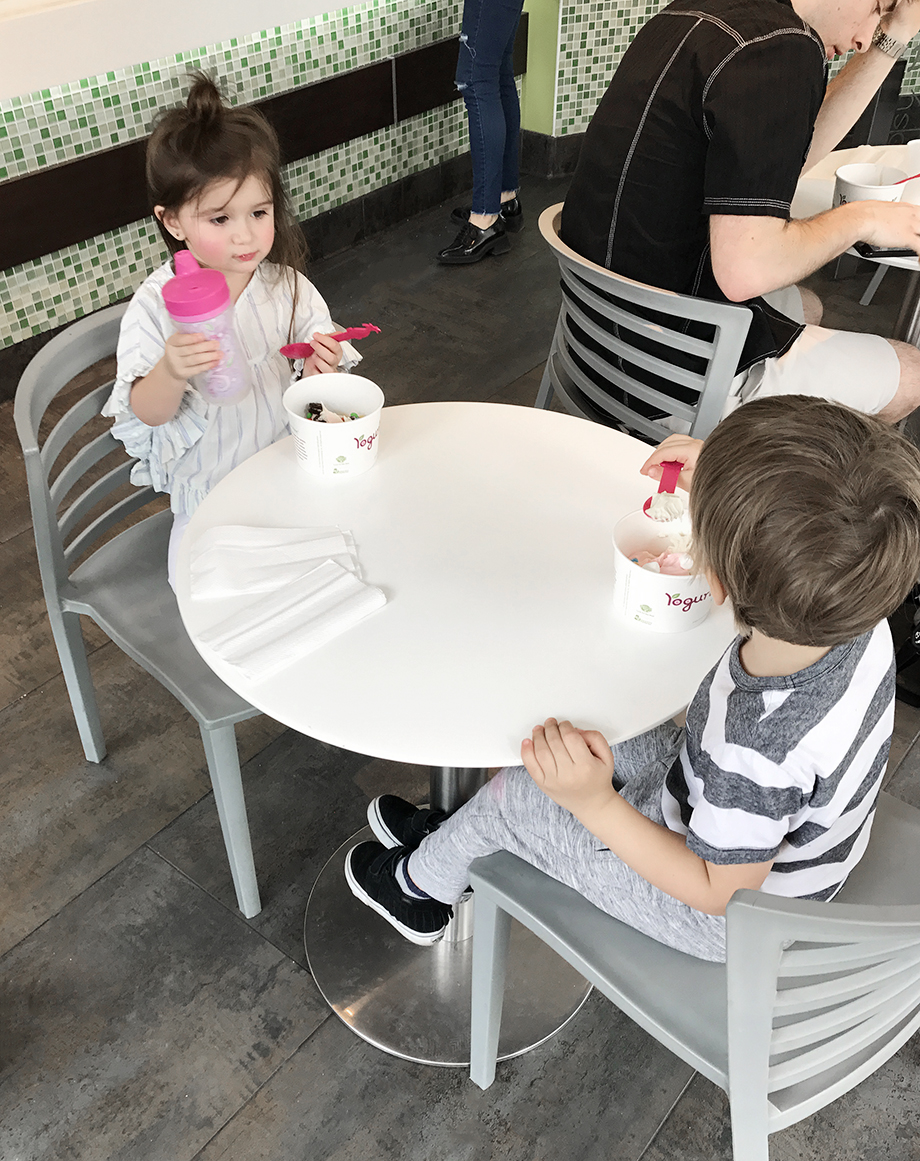 Eating at Yogurtland in Chicago near the Swissotel.