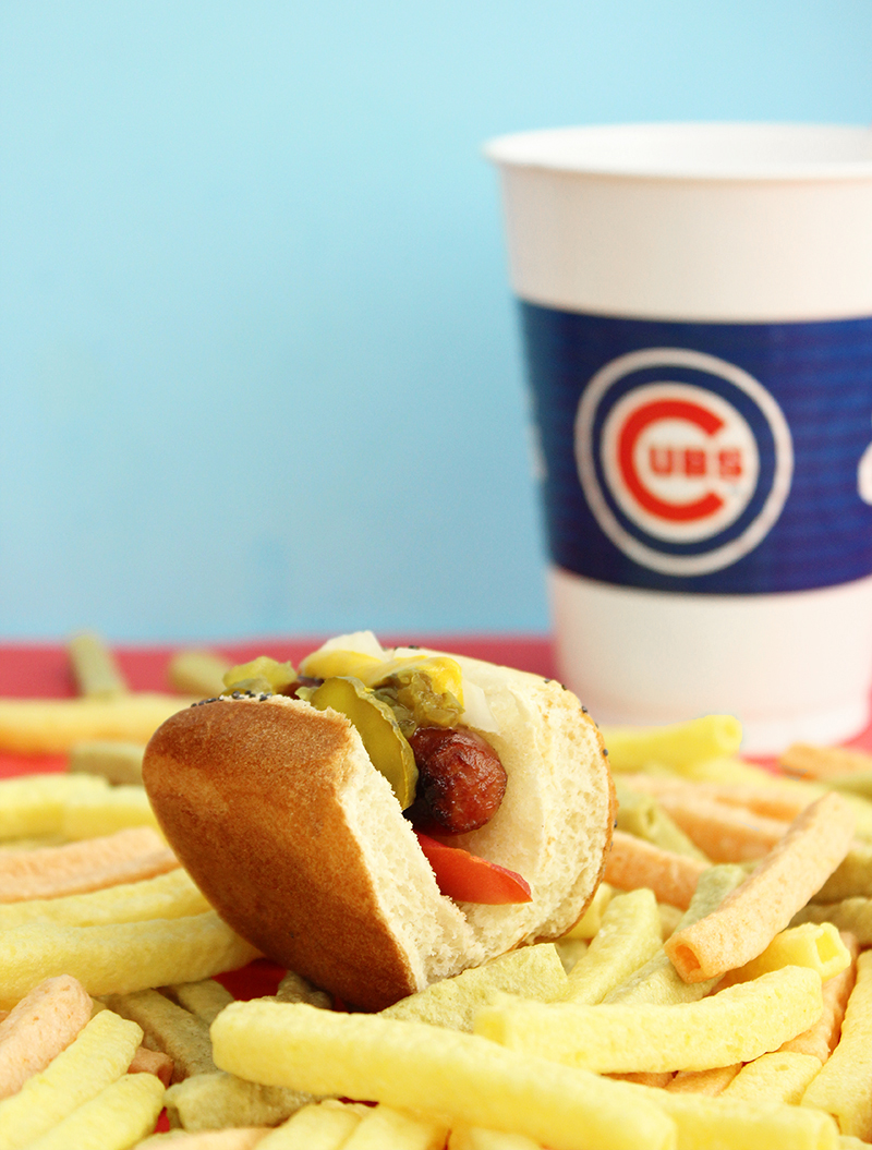 A quick and easy recipe for mini Chicago style hot dogs with veggie fries.