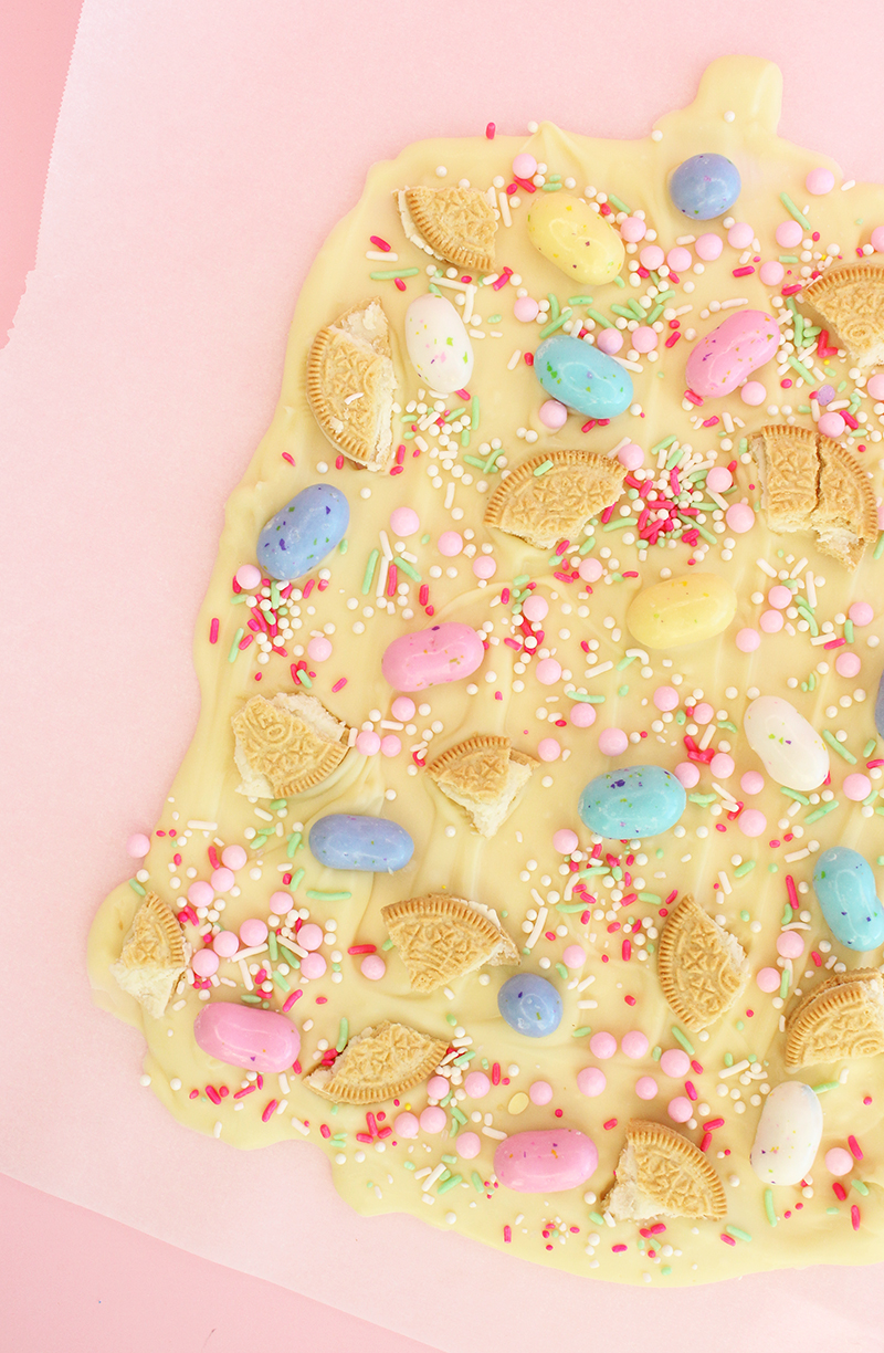 White melting chocolate with Oriental Trading candy for delicious Easter Bark.