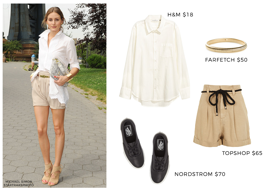 How to wear a white blouse with khaki shorts.