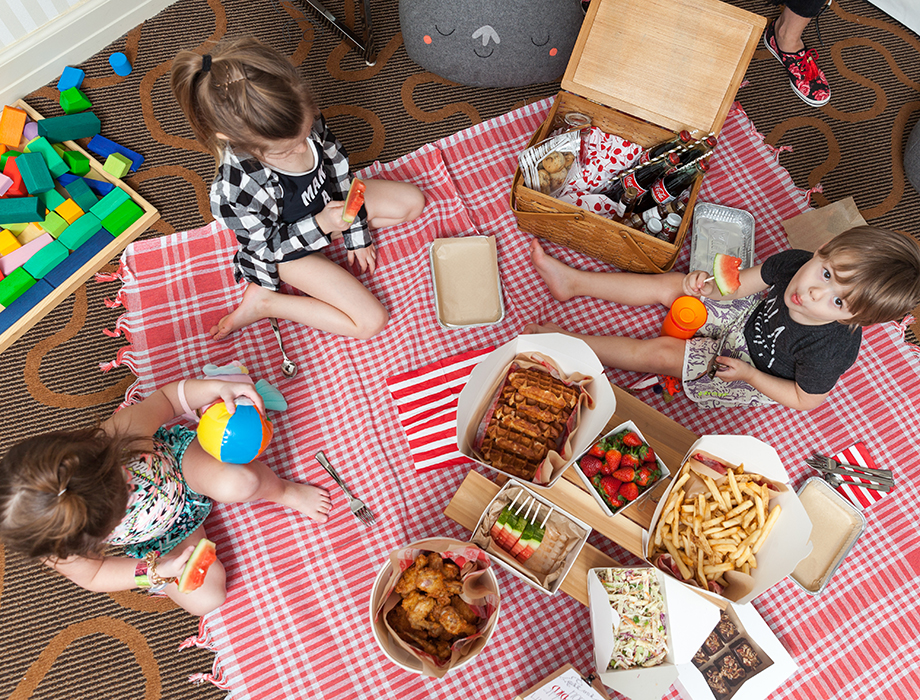 Kids having an indoor picnic at the Swissotel in Chicago.