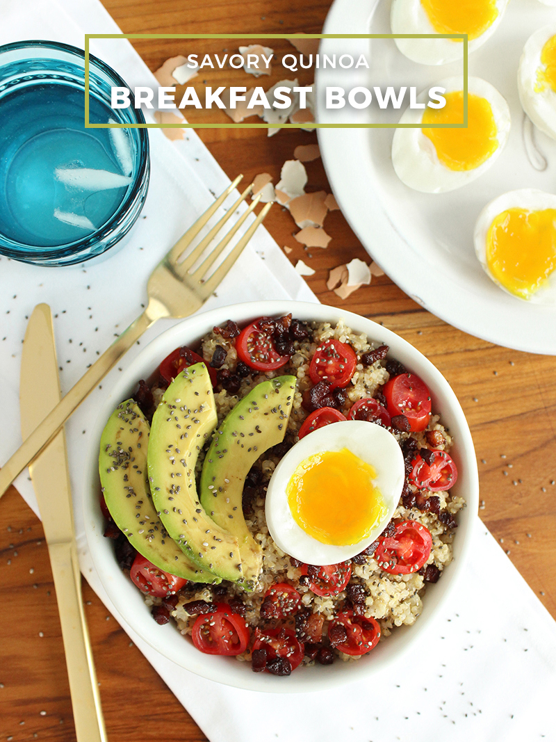 How to make healthy quinoa breakfast bowls with soft boiled eggs, cherry tomatoes and avocados.